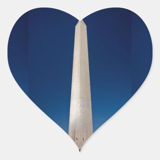 Monumento de Washington en la oscuridad Pegatina En Forma De Corazón
