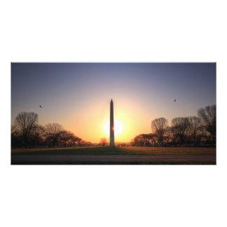 Monumento de Washington en la puesta del sol Fotos