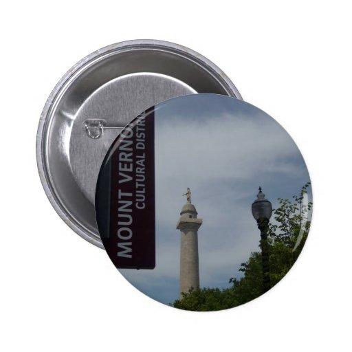 Monumento de Washington en Mount Vernon Baltimore Pin Redondo 5 Cm