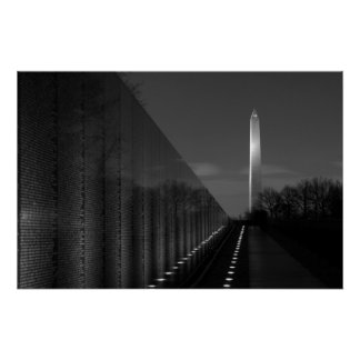 Monumento de Washington y pared B W de Vietnam Poster