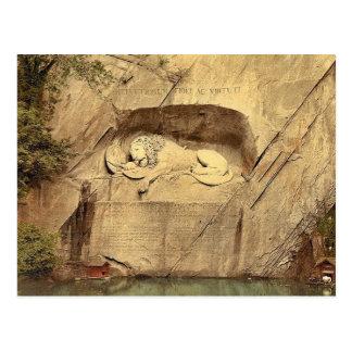 Monumento del león, vintage Photoc de Alfalfa, Sui Tarjetas Postales