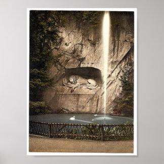 Monumento del león, y fuente, Alfalfa, Suiza Póster
