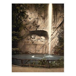 Monumento del león, y fuente, Alfalfa, Suiza Tarjeta Postal