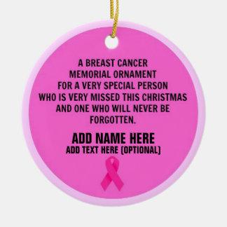 Monumento del poema del cáncer de pecho adorno navideño redondo de cerámica