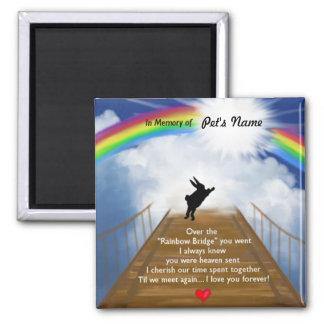 Monumento del puente del arco iris para los conejo imán cuadrado