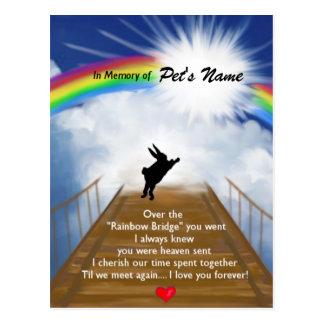 Monumento del puente del arco iris para los conejo postal
