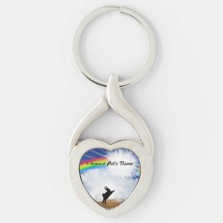 Monumento del puente del arco iris para los llavero plateado en forma de corazón