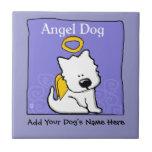 Monumento dulce del ángel del perro de Westie Azulejo Cuadrado Pequeño