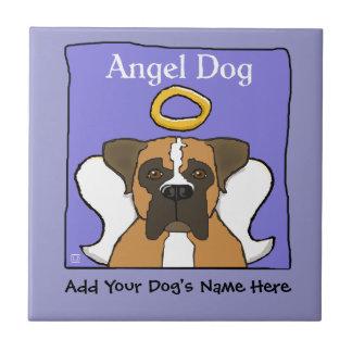 Monumento dulce del ángel del perro del boxeador azulejo cuadrado pequeño