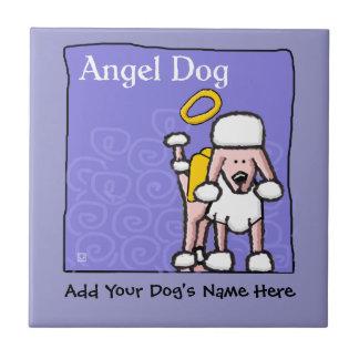 Monumento lindo del perro del ángel del caniche azulejo cuadrado pequeño