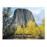 Monumento nacional de la torre del diablo tarjeta postal