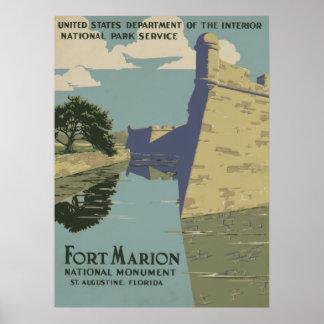 Monumento nacional de Marion del fuerte Póster