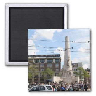 Monumento nacional holandés imán cuadrado