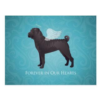 Monumento negro y condolencia del mascota de Shar Tarjeta Postal