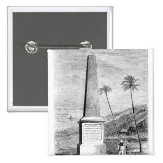 Monumento para captain a James Cook Pin Cuadrado