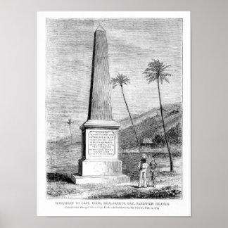 Monumento para captain a James Cook Póster
