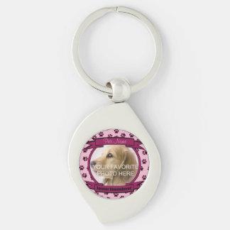 Monumento rosado del perro o del gato llavero plateado en forma de espiral