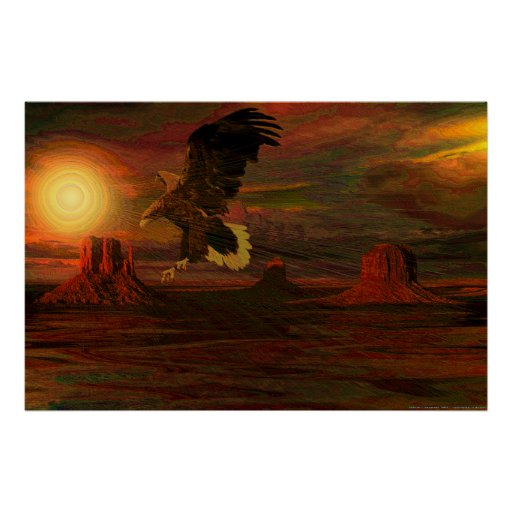 Monumento - Valley-Eagle-Set-Ver-3-abstract Póster