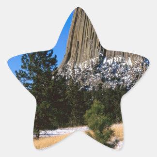 Monumento Wyoming de la torre de los diablos del Pegatina En Forma De Estrella