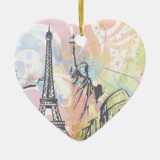 Monumentos del ornamento del personalizado del adorno navideño de cerámica en forma de corazón
