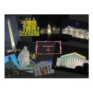 Monumentos del Washington DC en la noche Postal