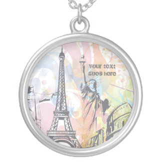 Monuments of the world custom silver necklace