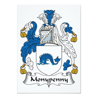 """Monypenny Family Crest 5"""" X 7"""" Invitation Card"""