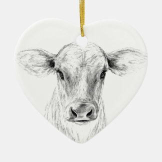 Moo A Young Jersey Cow Ceramic Ornament