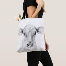 Moo A Young Jersey Cow Drawing Art Tote