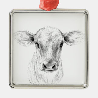 Moo A Young Jersey Cow Metal Ornament