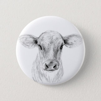 Moo A Young Jersey Cow Pinback Button