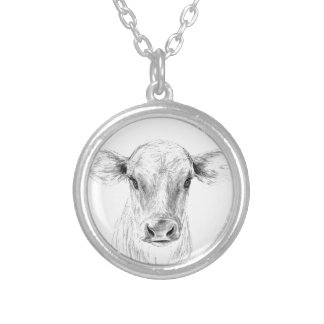 Moo A Young Jersey Cow Silver Plated Necklace