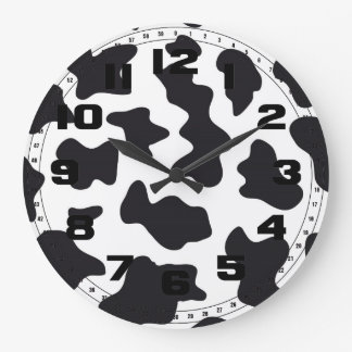 MOO Black and White Dairy Cow Pattern Print Gifts Large Clock