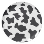 MOO Black and White Dairy Cow Pattern Print Gifts Melamine Plate