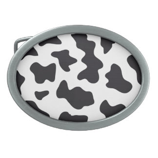 MOO Black and White Dairy Cow Pattern Print Gifts Oval Belt Buckle