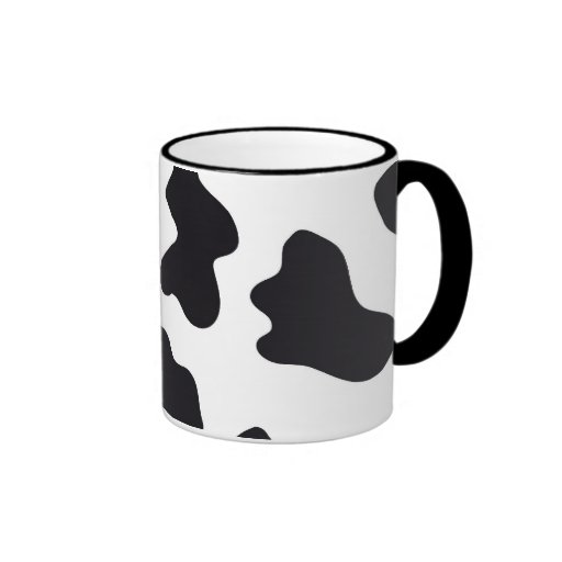 MOO Black and White Dairy Cow Pattern Print Gifts Ringer Coffee Mug