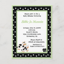 Moo Cow Black white Green Baby Shower Invitation