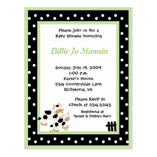 Moo Cow Black white Green Baby Shower Invitation Postcard