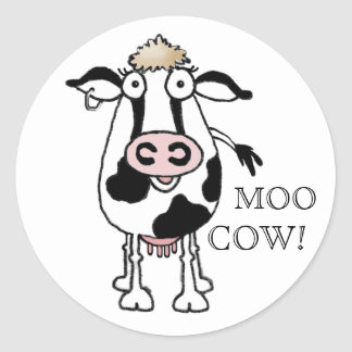 MOO COW! CLASSIC ROUND STICKER