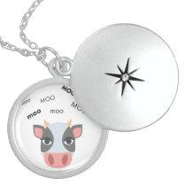 Moo Cow Cute Emoji Locket Necklace