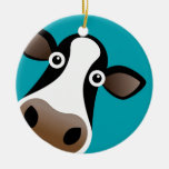 Moo Cow Double-Sided Ceramic Round Christmas Ornament
