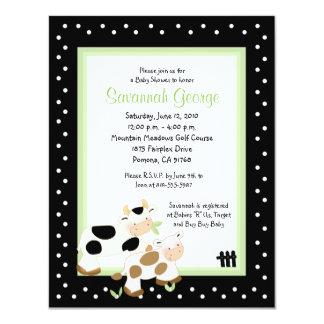 Moo Cow Farm Barnyard Baby Shower 4.25 x 5.5 4.25x5.5 Paper Invitation Card