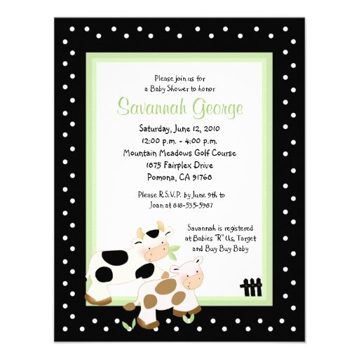 Moo Cow Farm Barnyard Baby Shower 4.25 x 5.5 Personalized Invites
