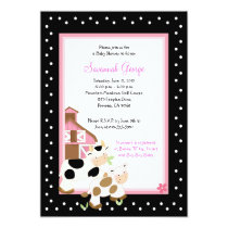 Moo Cow Farm Barnyard Baby Shower Invitations 5x7