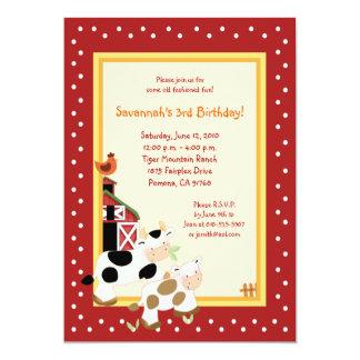 "Moo Cow Farm Barnyard Country Birthday Invitations 5"" X 7"" Invitation Card"