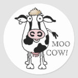 MOO COW! ROUND STICKERS