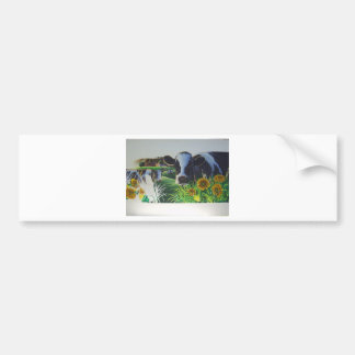 Moo Cow With SunFlowers Bumper Sticker