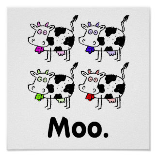 MOO. Cute Cow Print