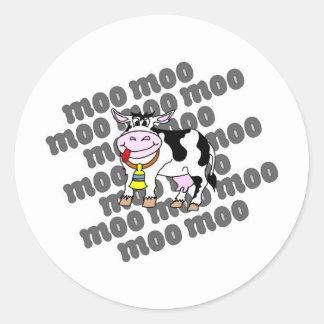 MOO de la vaca Pegatina Redonda