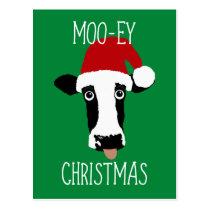 Moo-ey Christmas Cow Funny Santa Claus Postcard